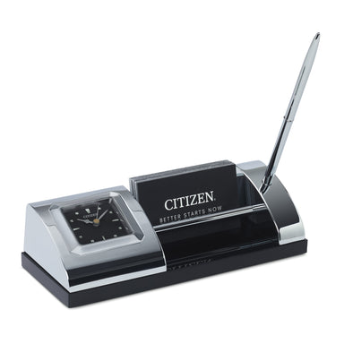 Citizen Executive Suite Crystal Base/Black Dial Desk Clock w/Card Holder & Pen CC1003