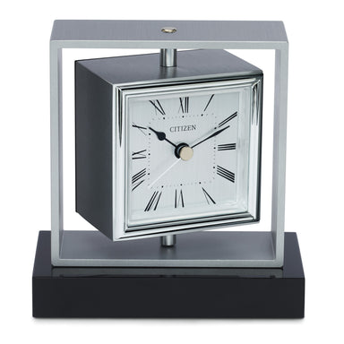 Citizen Decorative Silver-Tone/Black Base Square Spinning Accent Clock CC1007