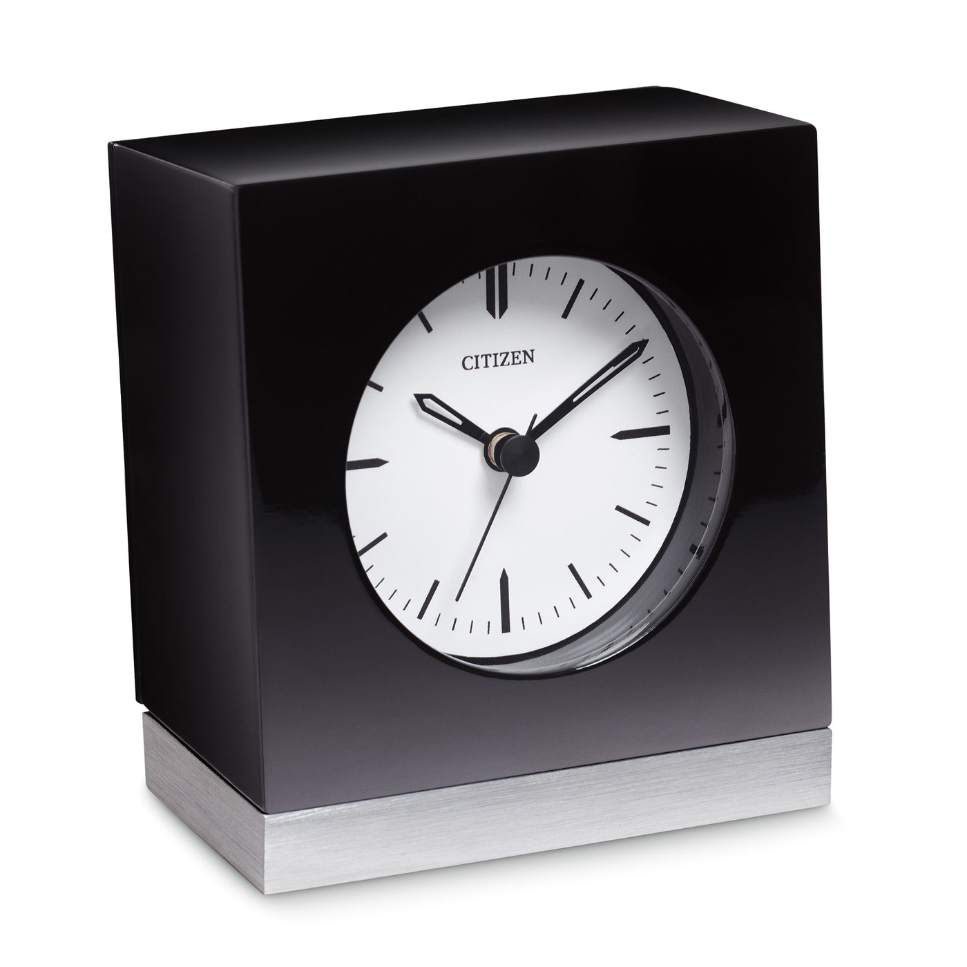Citizen Workplace Black Square Silver-Tone Base Desk Clock CC1012