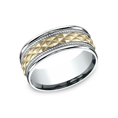 Benchmark Comfort Fit Two-Tone Triangle Pattern w/Polished Edges Wedding Band CF178040
