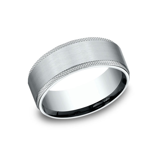 Benchmark Comfort Fit Knurled Edge & Satin Center Wedding Band CF188749