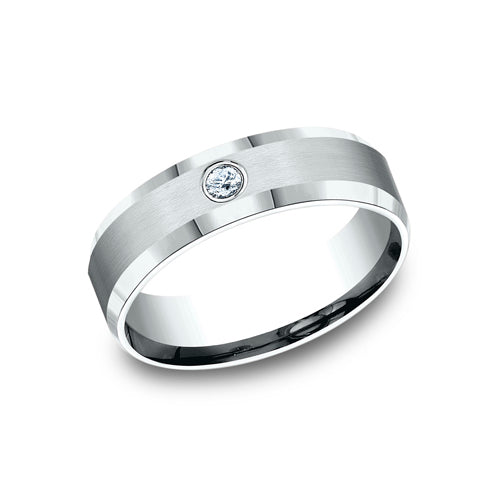 Benchmark Comfort Fit Satin Finished Bezel Set Diamond Wedding Band CF526127