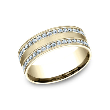 Benchmark Comfort Fit Channel Set Brushed Diamond Eternity Wedding Band CF528551