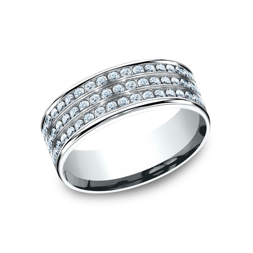 Benchmark Comfort Fit Triple Row Channel Set Diamond Wedding Band CF528556