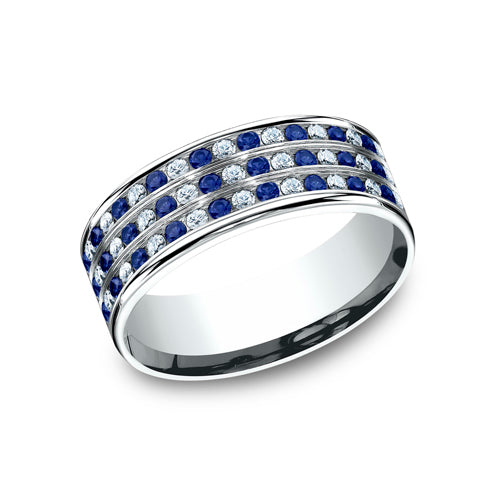 Benchmark Comfort Fit Diamond & Blue Sapphire Wedding Band CF528558