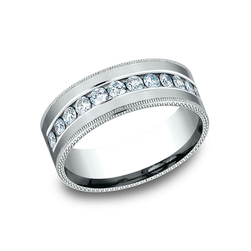 Benchmark Comfort Fit Channel Set Diamond w/ Milgrain Edges Wedding Band CF528634