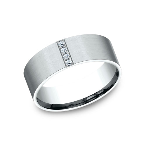 Benchmark Comfort Fit Pave Set Satin-Finished Vertical Row of 4 Diamond Wedding Band 	CF528712