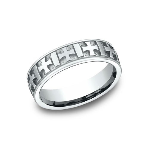 Benchmark Comfort Fit High Polished Gaelic Cross Etching Wedding Band CF56401
