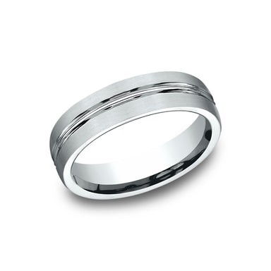 Benchmark Comfort Fit  Satin-Finished High Polished Cut Wedding Band CF56411