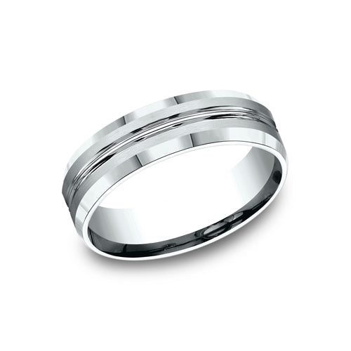 Benchmark Comfort Fit High Polished Center Cut & Beveled Edges Wedding Band CF66439
