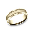 Benchmark Comfort Fit Satin-Finished Center w/ Milgrain Detailing Wedding Band CF67438