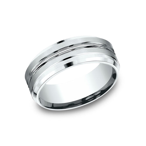 Benchmark Comfort Fit High Polish Center w/ Two Satin Strips Wedding Band CF68484