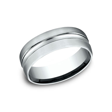 Benchmark Comfort Fit Carved Design w/ Satin Finish & High Polished Center Wedding Band CF717505