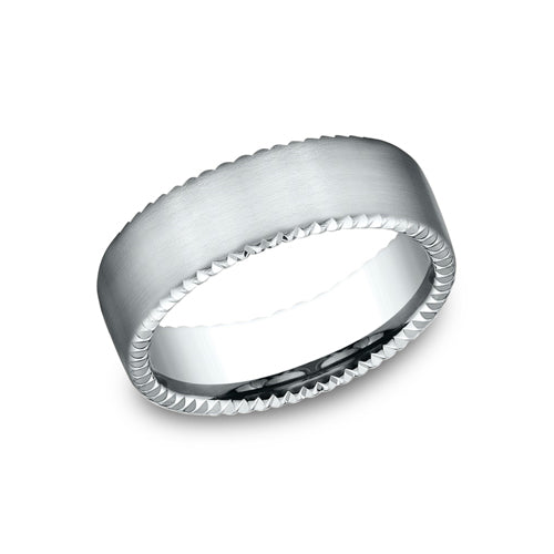 Benchmark Comfort Fit Rivet Coin Edging Wedding Band CF717525