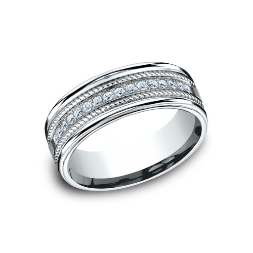Benchmark Comfort Fit Roped-Design Diamond Wedding Band CF717581