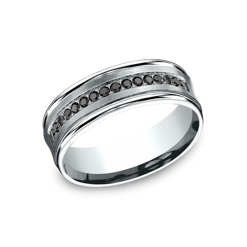 Benchmark Comfort Fit Concave Pave Set Black Diamond Wedding Band CF717592