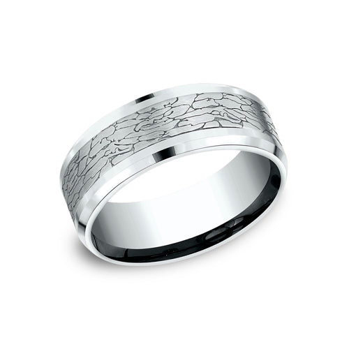 Benchmark Comfort Fit Cracked Glass Finish w/ High Polished Edge Wedding Band CF808374
