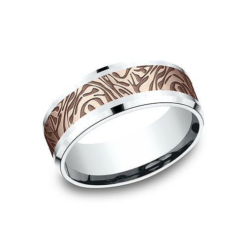 Benchmark Comfort Fit Two-Tone Mokume designed Wedding Band CF838390