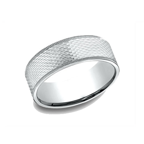 Benchmark Comfort Fit Mesh Pattern w/ Milgrain Edges Wedding Band CJ9775449PT