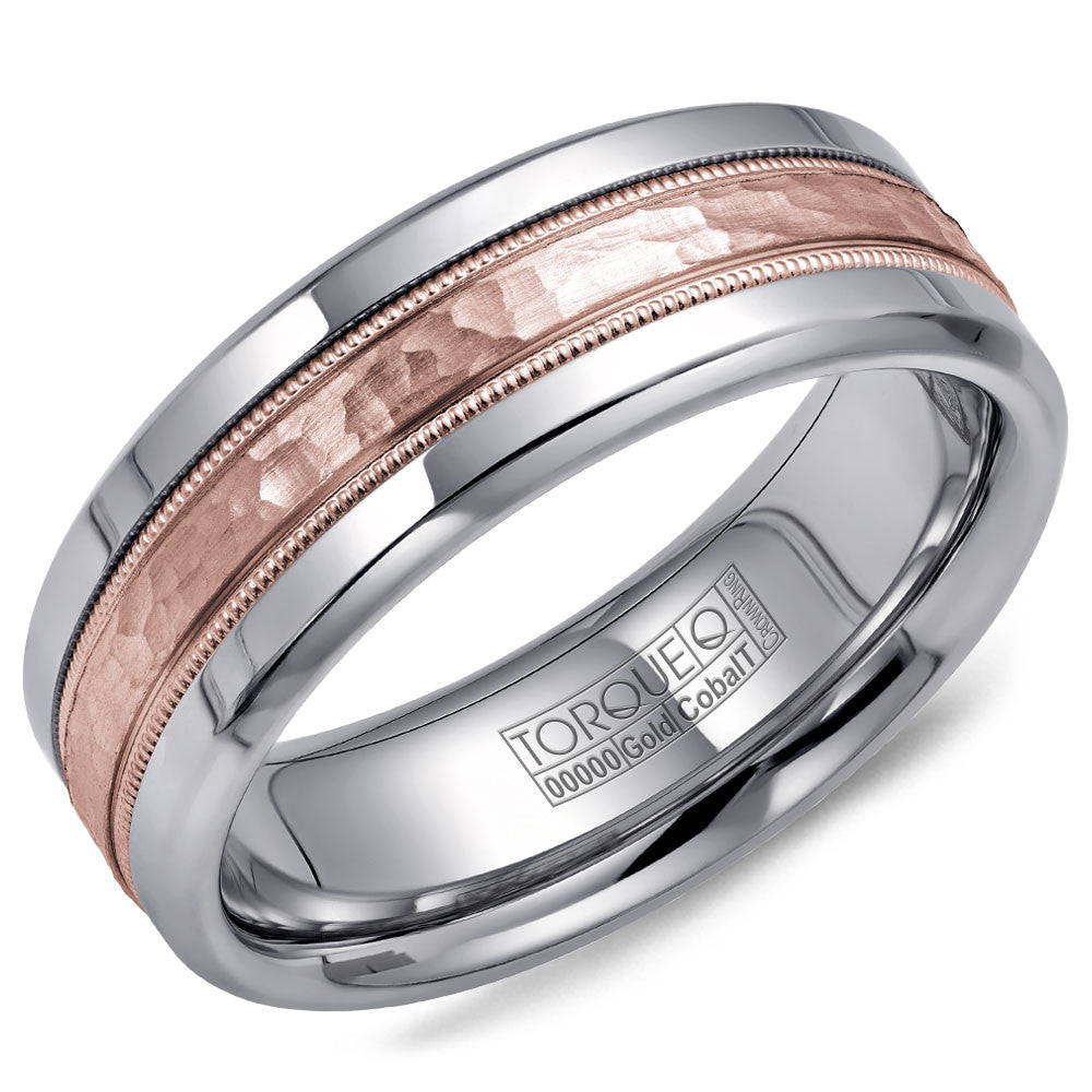 Torque Cobalt & Gold Collection 7.5MM Wedding Band with Rose Gold Center CW003MR75