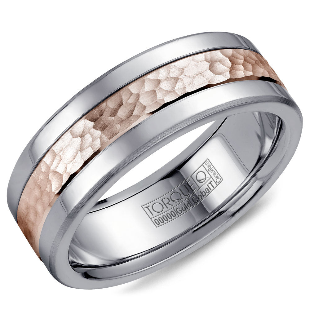 Torque Cobalt & Gold Collection 7.5MM Wedding Band with Rose Gold Center CW005MR75