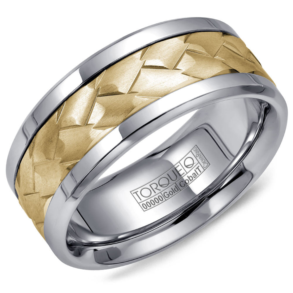 Torque Cobalt & Gold Collection 9MM Wedding Band with Yellow Gold Center CW006MY9