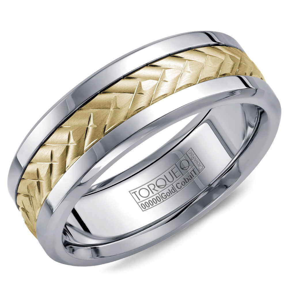 Torque Cobalt & Gold Collection 7.5MM Wedding Band with Yellow Gold Center CW007MY75