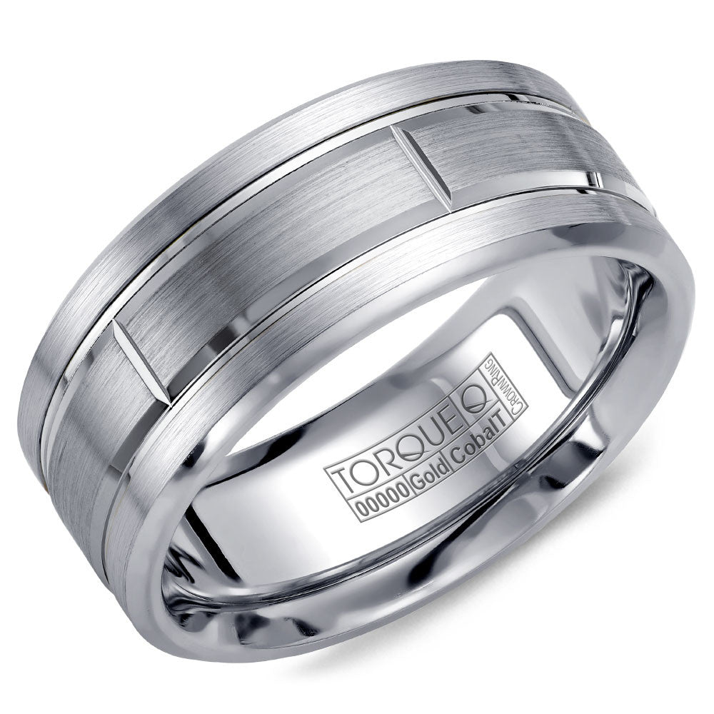 Torque Cobalt & Gold Collection 9MM Wedding Band with White Gold Center CW008MW9
