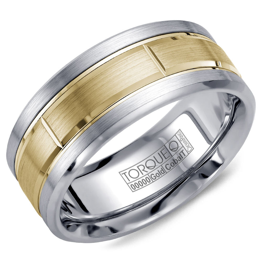 Torque Cobalt & Gold Collection 9MM Wedding Band with Yellow Gold Center CW008MY9