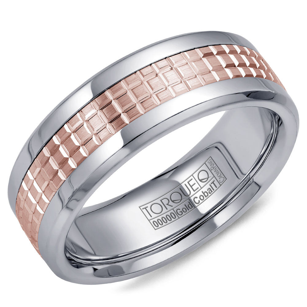 Torque Cobalt & Gold Collection 7.5MM Wedding Band with Rose Gold Center CW009MR75