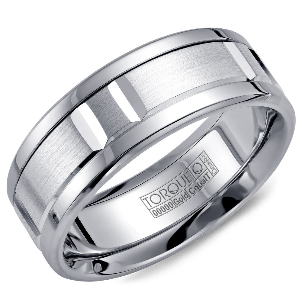 Torque Cobalt & Gold Collection 7.5MM Wedding Band with White Gold Center CW011MW75