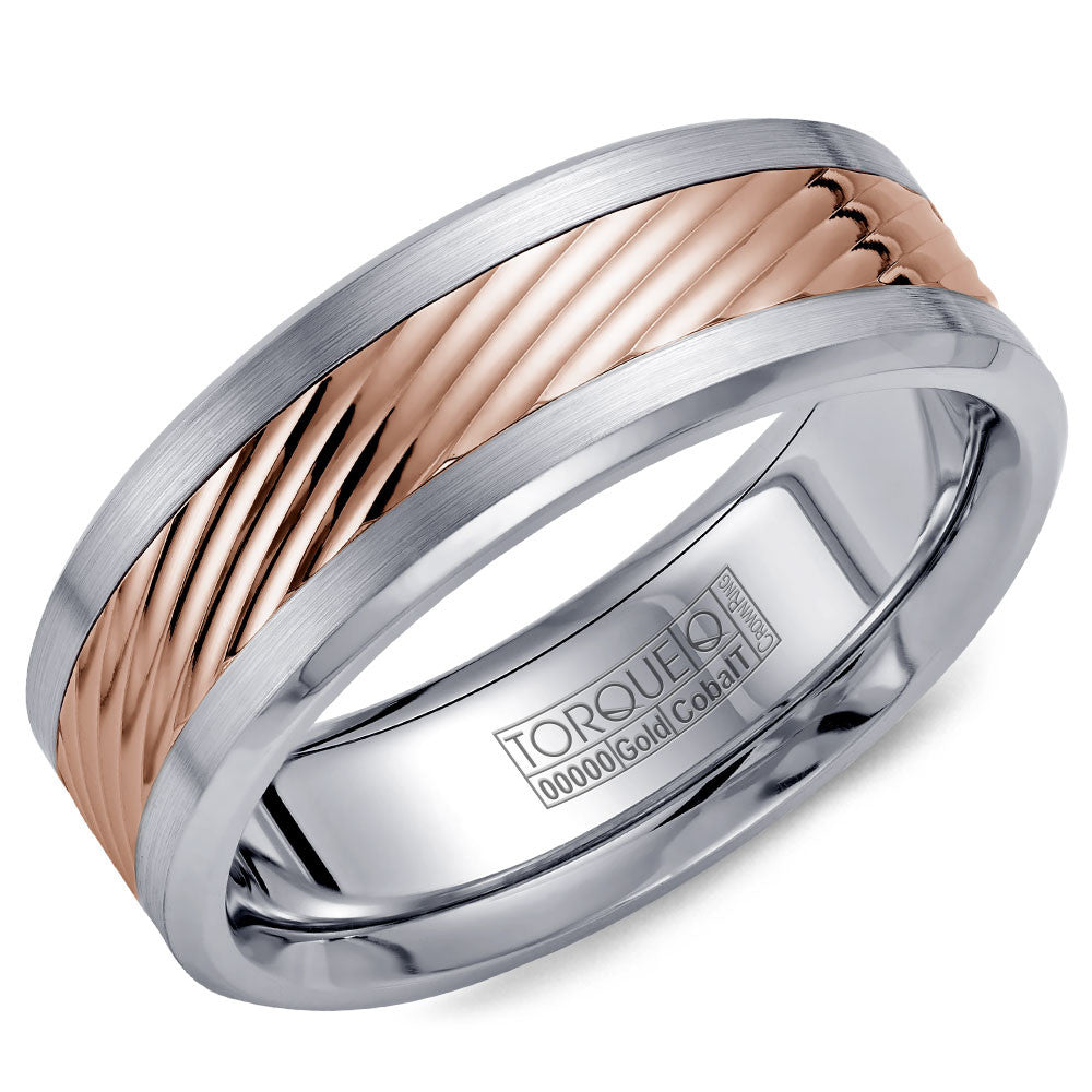 Torque Cobalt & Gold Collection 7.5MM Wedding Band with Rose Gold Center CW015MR75