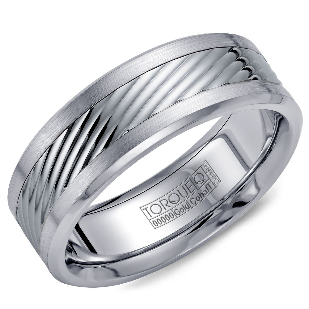Torque Cobalt & Gold Collection 7.5MM Wedding Band with White Gold Center CW015MW75