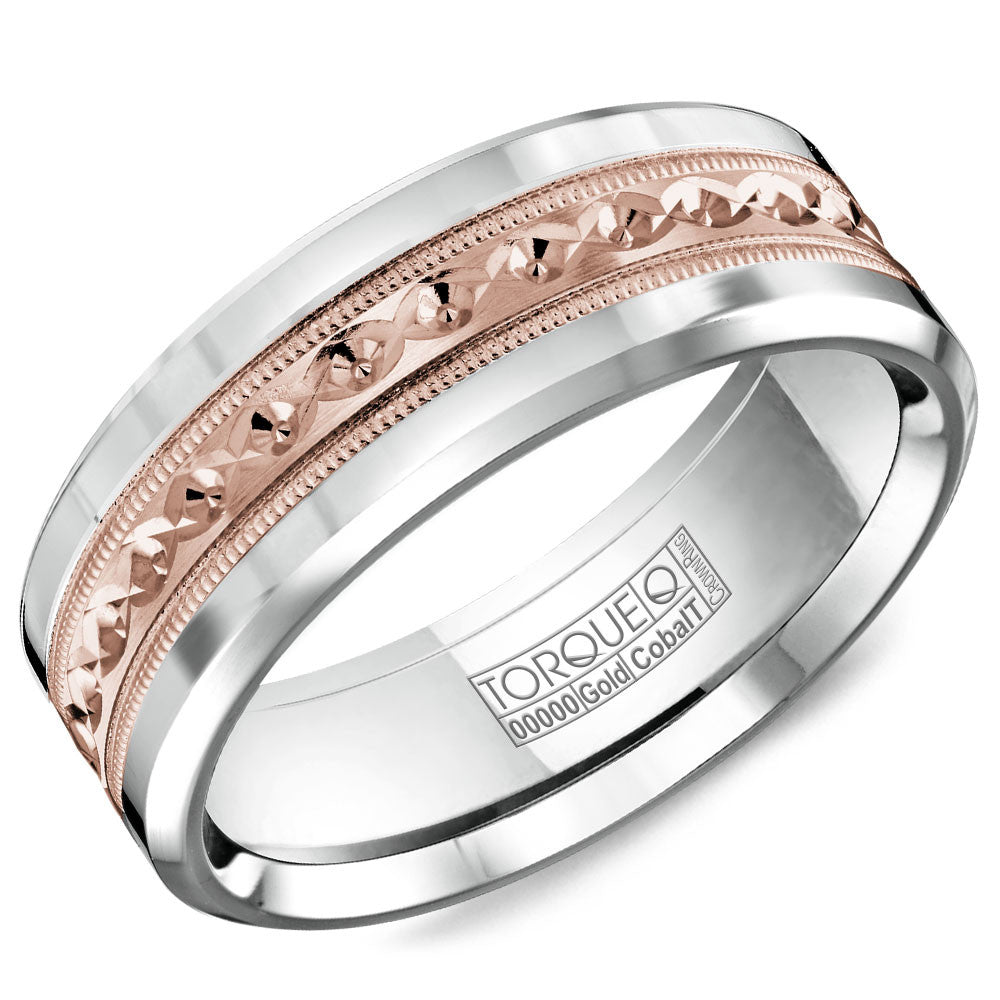 Torque Cobalt & Gold Collection 7.5MM Wedding Band with Rose Gold Center CW016MR75