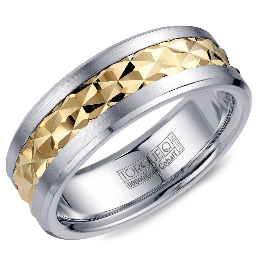 Torque Cobalt & Gold Collection 7.5MM Wedding Band with Yellow Gold Center CW017MY75