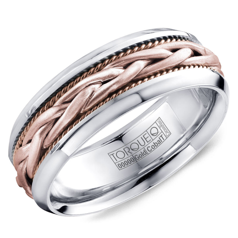 Torque Cobalt & Gold Collection 7.5MM Wedding Band with Rose Gold Center CW019MRR75