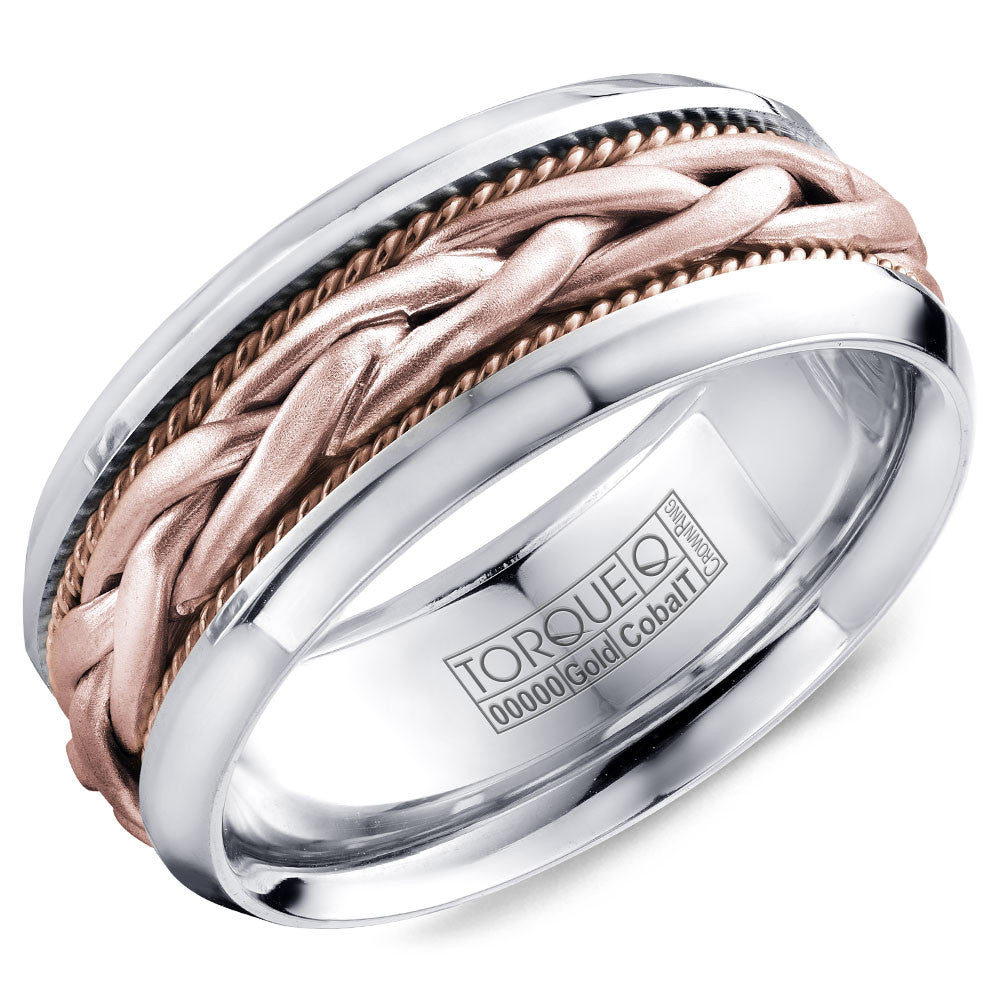 Torque Cobalt & Gold Collection 9MM Wedding Band with Rose Gold Center CW019MRR9