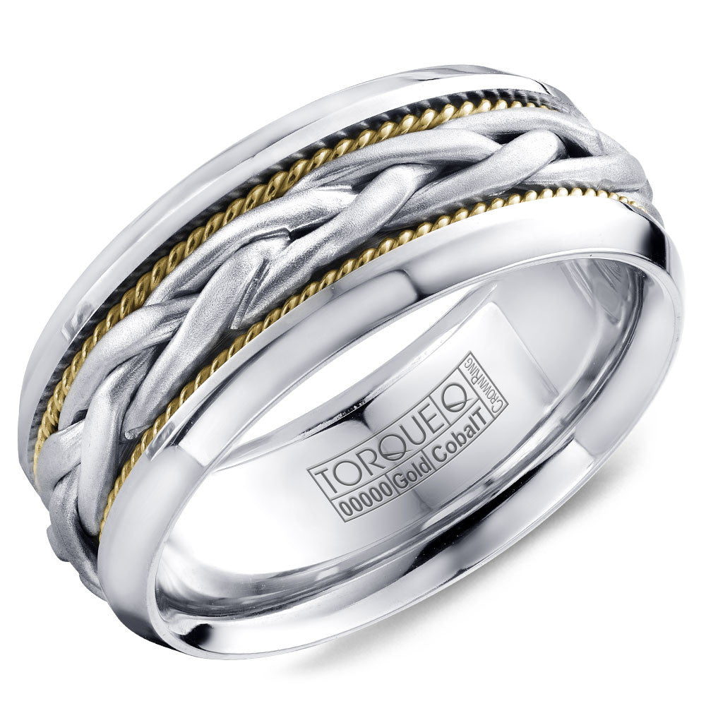 Torque Cobalt & Gold Collection 9MM Wedding Band with White Gold Center CW019MWY9