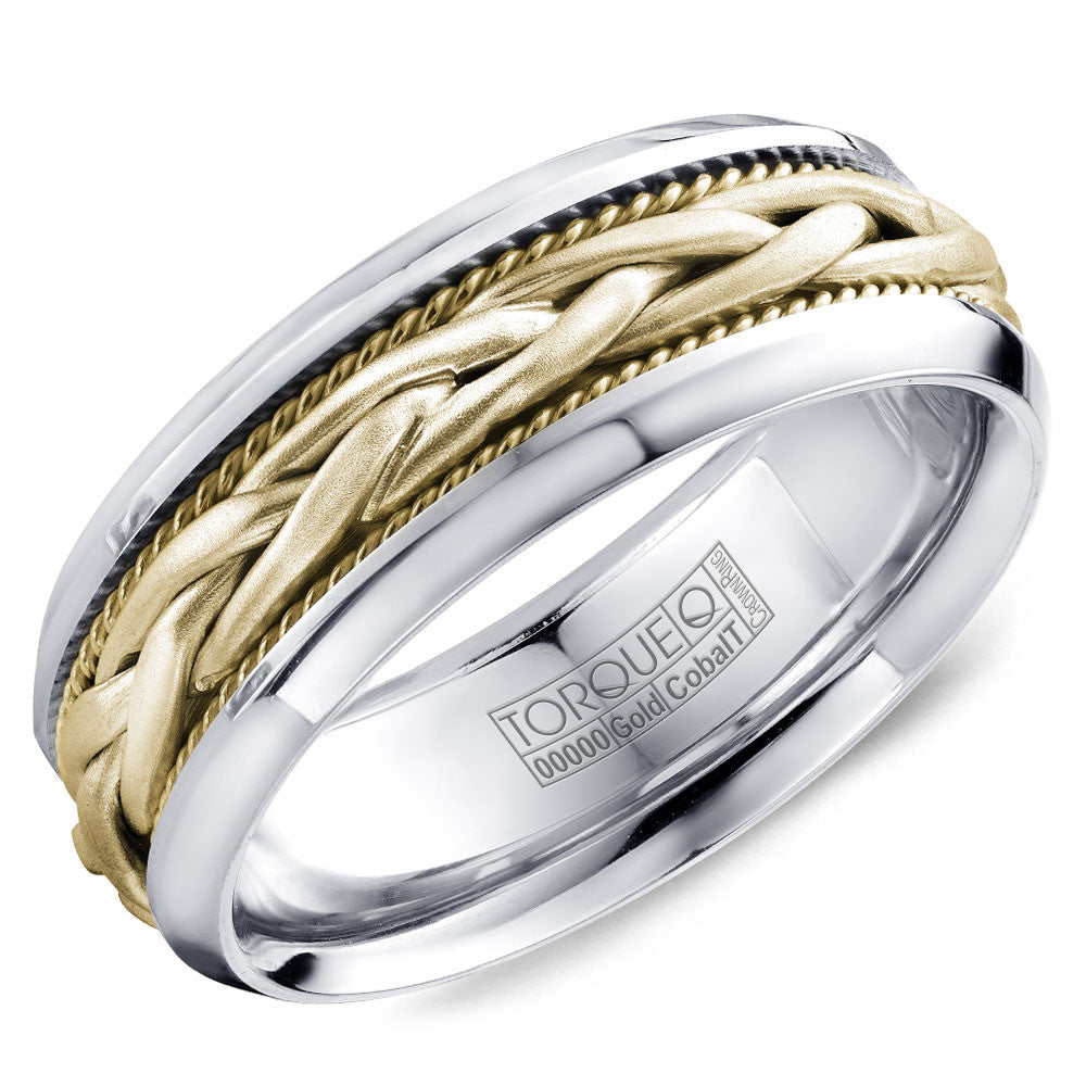 Torque Cobalt & Gold Collection 7.5MM Wedding Band with Yellow Gold Center CW019MYY75