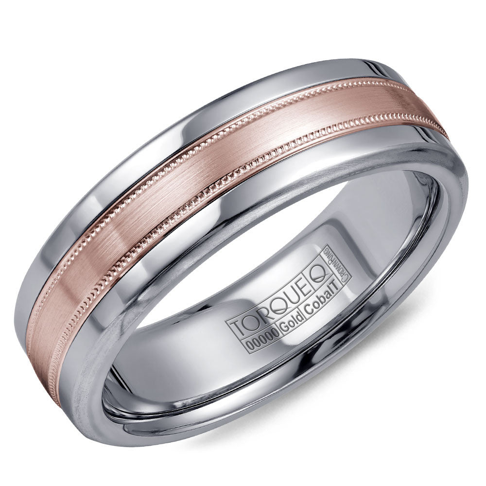 Torque Cobalt & Gold Collection 6MM Wedding Band with Rose Gold Center CW020MR6