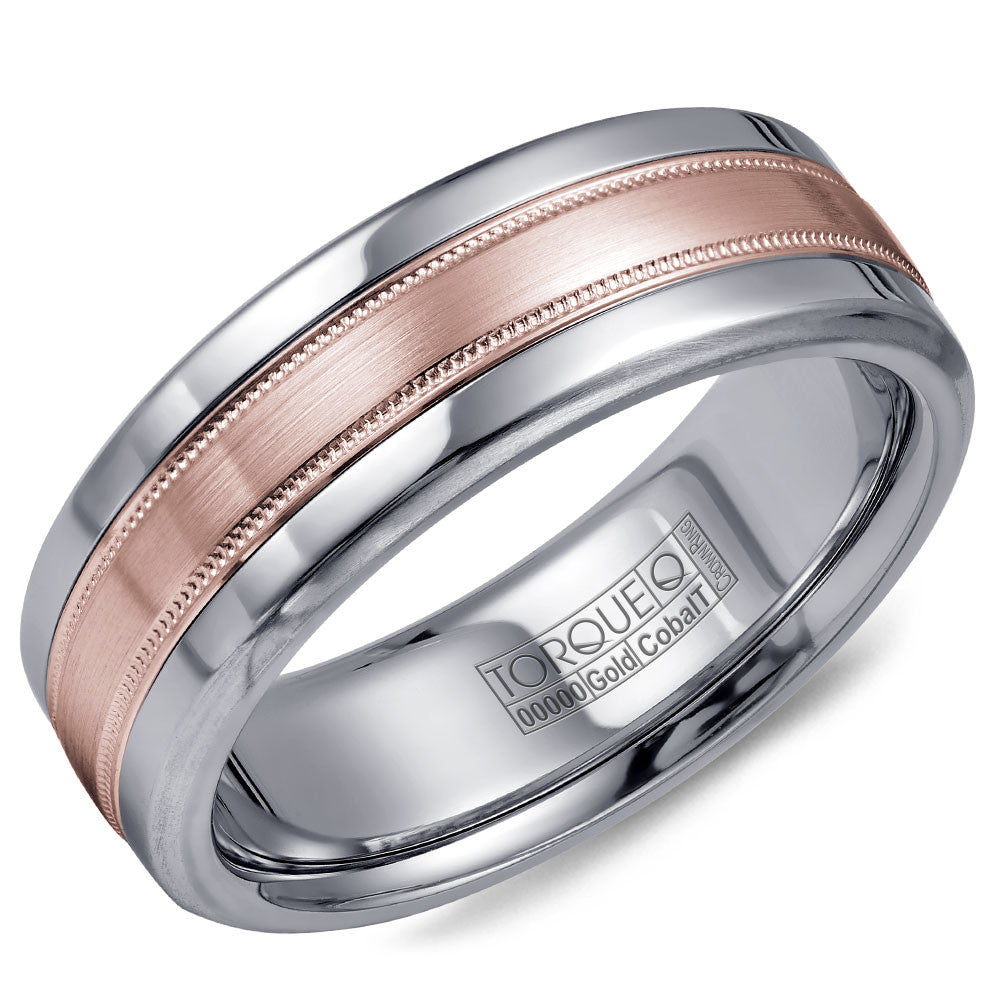 Torque Cobalt & Gold Collection 7.5MM Wedding Band with Rose Gold Center CW020MR75