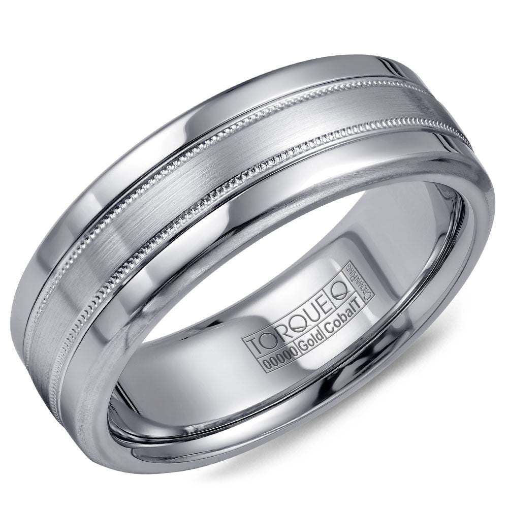 Torque Cobalt & Gold Collection 7.5MM Wedding Band with White Gold Center CW020MW75