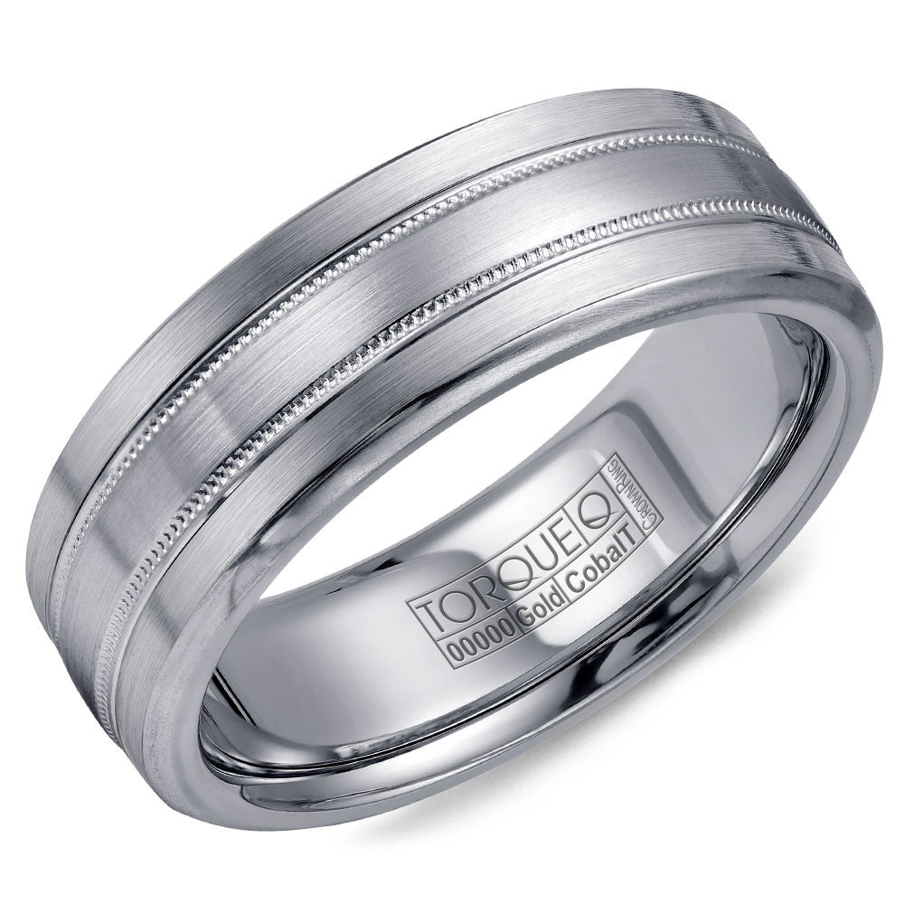 Torque Cobalt & Gold Collection 7.5MM Wedding Band with White Gold Center CW022MW75