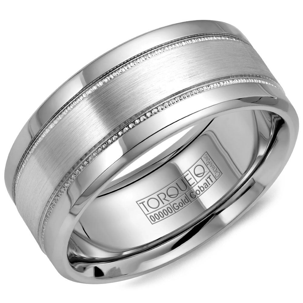 Torque Cobalt & Gold Collection 9MM Wedding Band with White Gold Center CW022MW9