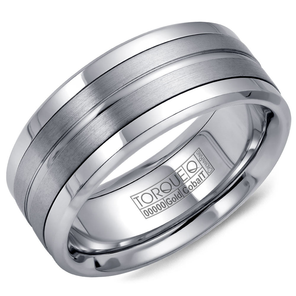 Torque Cobalt & Gold Collection 9MM Wedding Band with White Gold Center CW023MW9