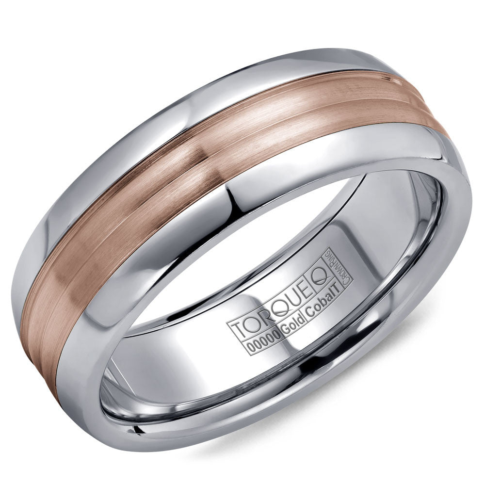 Torque Cobalt & Gold Collection 7.5MM Wedding Band with Rose Gold Center CW024MR75