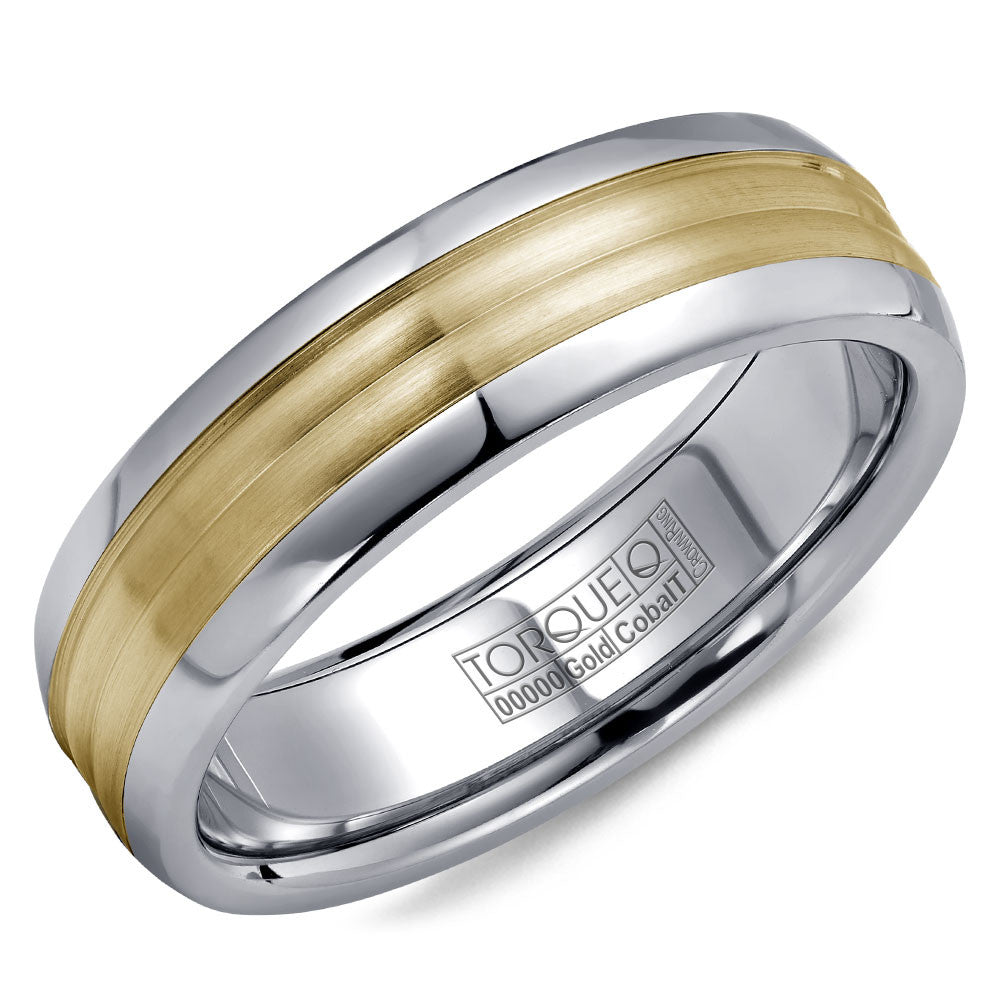 Torque Cobalt & Gold Collection 7.5MM Wedding Band with Yellow Gold Center CW024MY75