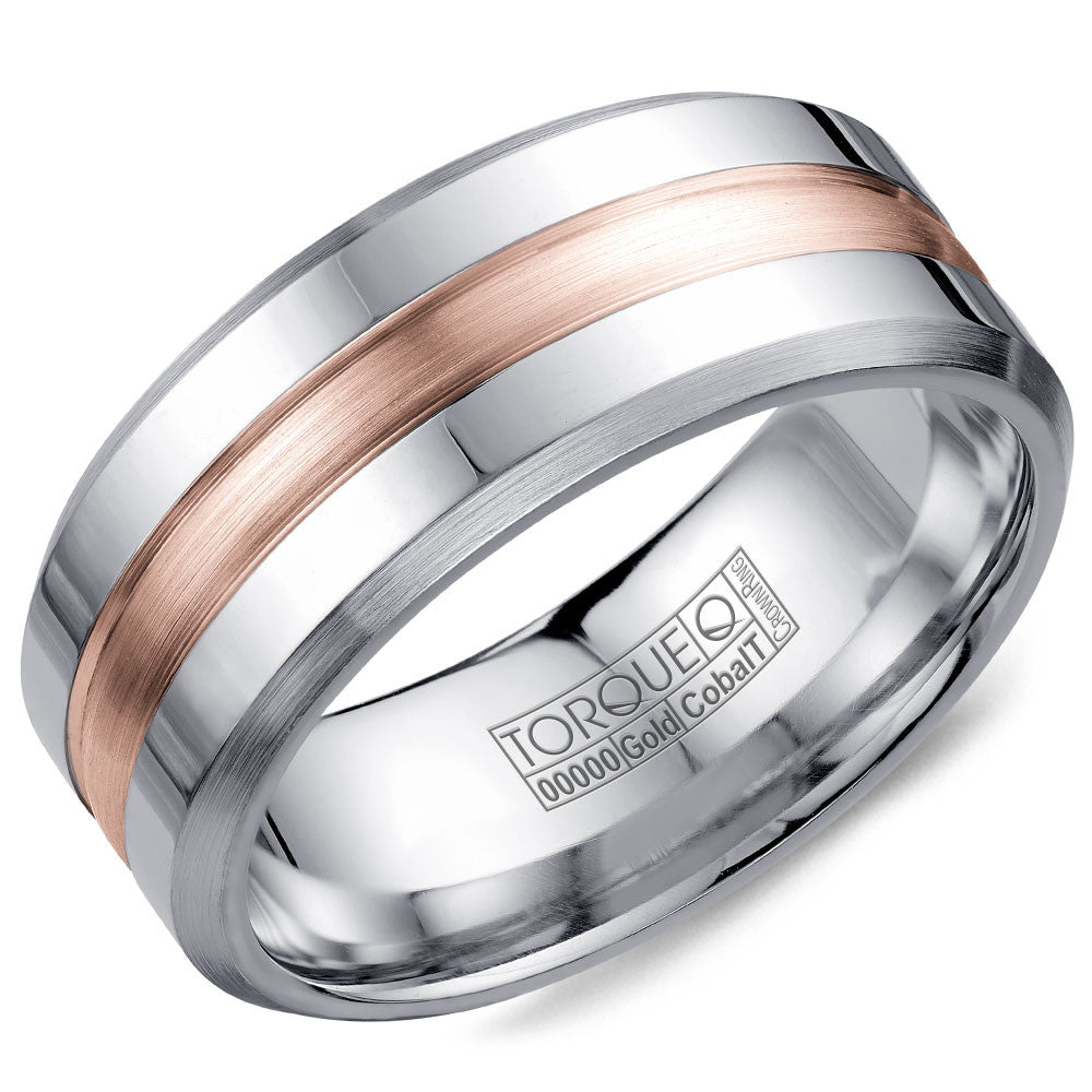 Torque Cobalt & Gold Collection 9MM Wedding Band with Rose Gold Center CW030MR9