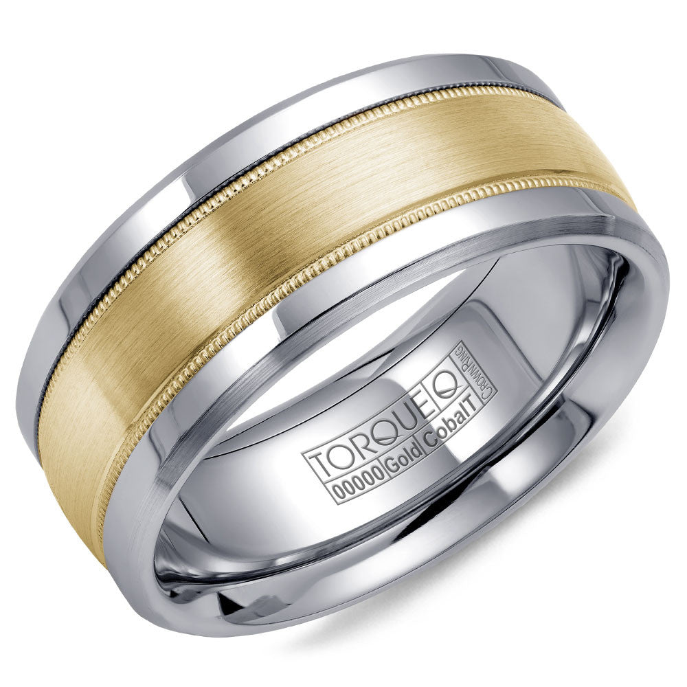 Torque Cobalt & Gold Collection 9MM Wedding Band with Yellow Gold Center CW036MY9
