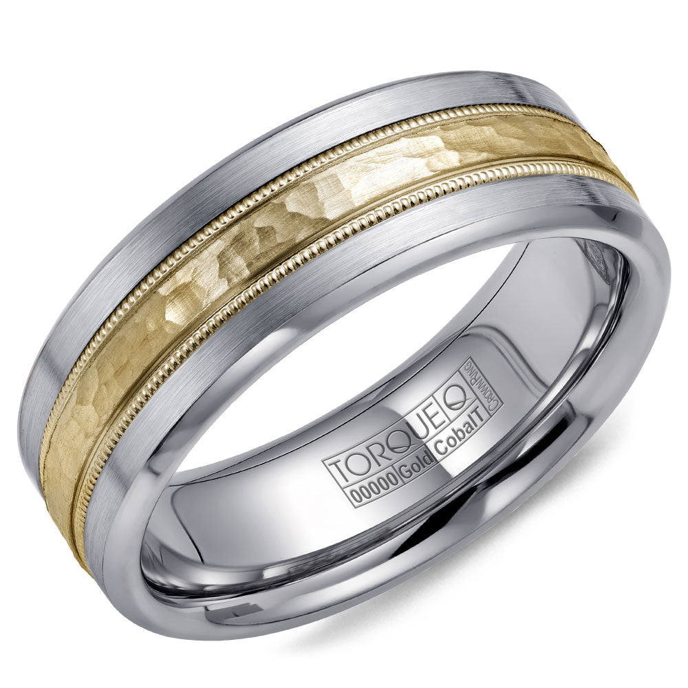 Torque Cobalt & Gold Collection 7.5MM Wedding Band with Yellow Gold Center CW040MY75